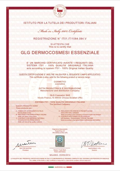 GLG Cosmetici certificazione made in italy 100%